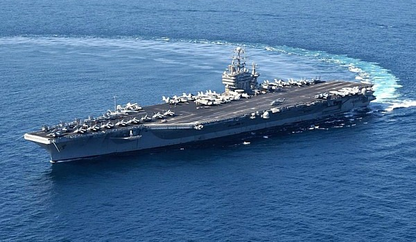 The aircraft carrier, USS John C. Stennis, which US Defense Secretary Ashton Carter visited as it was ploughing through the South China Sea.  US Navy